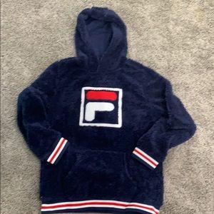 Fuzzy Fila Hooded Sweatshirt Classic sz XL